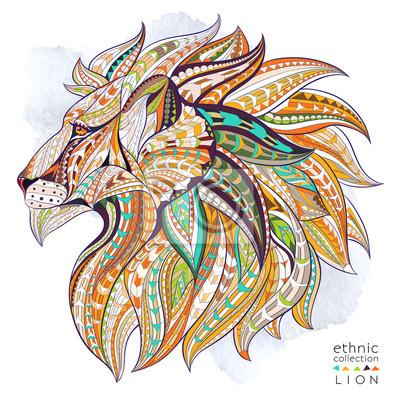Poster Gemusterten Kopf des Löwen auf dem Grunge-Hintergrund. Afrikanisch / indisch / Totem / Tätowierungentwurf. Es kann für die Gestaltung eines T-Shirt, Tasche, Postkarte, ein Poster und so weiter verwend