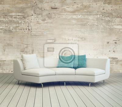 Poster Gemütliches Wohnzimmer Mit Weißen Couch Möbel