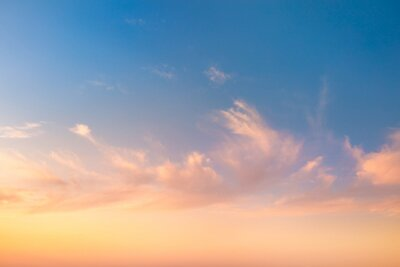 Poster Gentle Colors of Sky Background at Sunrise time with light clouds, natural colors, may use for wallpaper