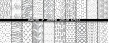 Poster Geometric set of seamless gray and white patterns. Simple vector graphics.