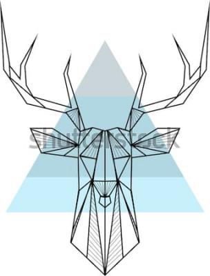 Poster Geometrischer Hintergrund der Vektorhippie-Zusammenfassung mit Rotwild