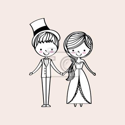 Gerade verheiratete glückliche Ikone vektorillustrationsentwurfsgraphik