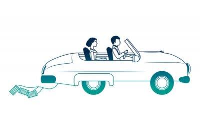 gerade verheiratetes Paar im Auto isolierte Ikone Vektor-Illustration Design