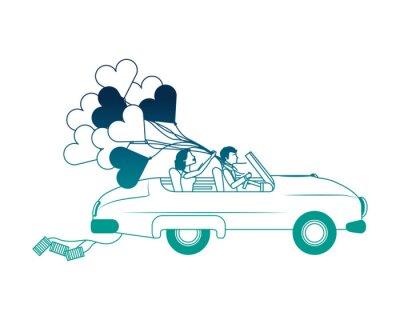 gerade verheiratetes Paar in Auto und Ballon Helium mit Form Herz Vektor-Illustration Design