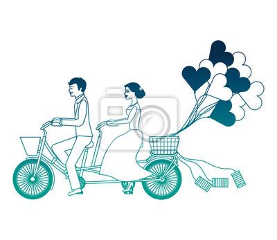 gerade verheiratetes Paar in Fahrrad und Luftballons Helium mit Form Herz Vektor-Illustration Design