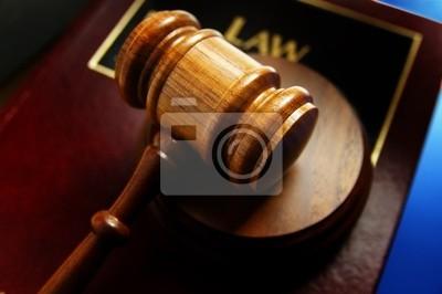 Gericht Hammer und Recht Buch, Nahaufnahme von oben