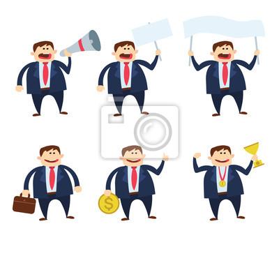 Poster Geschäftsmann Cartoon Zeichensatz