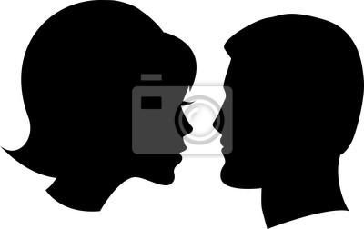 Poster Gesicht Mann und Frau auf weißem
