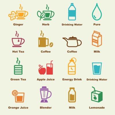 Poster Gesunde Getränke Elemente