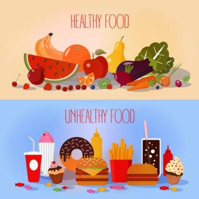 Poster Gesunde Lebensmittel und ungesunde Fast Food