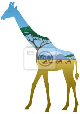Giraffe Landschaft / afrikanische Landschaft in Silhouette der Giraffe. Keine Transparenz verwendet. Grundlegende (lineare) Gradienten verwendet.
