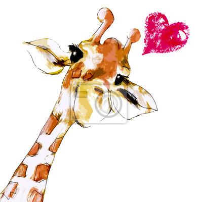 Poster Giraffe mit Herz
