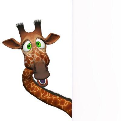 Poster Giraffe with a blank board