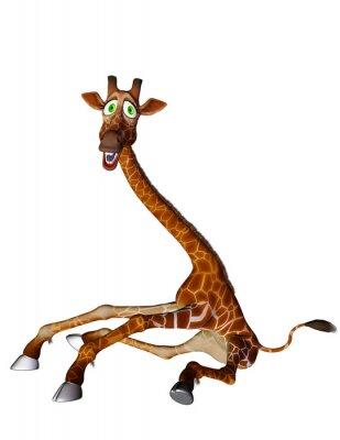 Poster Giraffen-Cartoon gespreizte Beine Seite