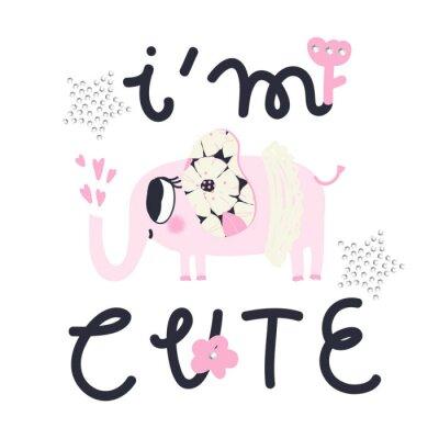 "Girl slogan for t shirt. Modern beautiful print for girls. Vector illustration. Creative typography slogan design. Sign ""I`M CUTE""."