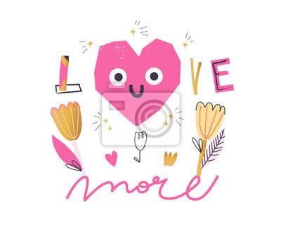 "Girl slogan for t shirt. Modern beautiful print for girls. Vector illustration. Creative typography slogan design. Sign ""LOVE MORE""."