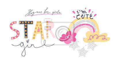 Girl slogans for t shirt. Modern print for girls. Vector illustration. Creative typography slogan design.