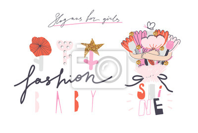 "Girl slogans for t shirt. Modern print for girls. Vector illustration. Creative typography slogan design. Signs ""FASHION BABY"", ""SHINE""."