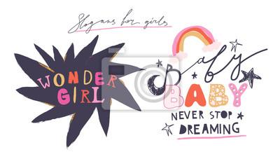 "Girl slogans for t shirt. Modern print for girls. Vector illustration. Creative typography slogan design. Signs ""WONDER GIRL"", ""BABY, NEVER STOP DREAMING""."