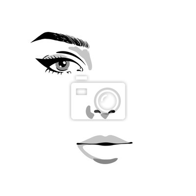 Poster Glamour fashion beauty woman face illustration. Half of female face with one eye and make-up in watercolor style. Vector watercolor illustration isolated on white background