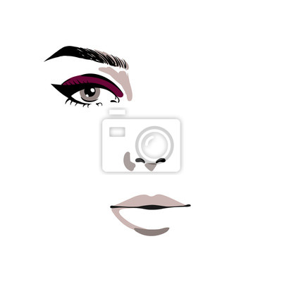 Poster Glamour fashion beauty woman face illustration. Half of female face with one eye and make-up of burgundy color in watercolor style. Vector colorful watercolor illustration isolated on white background