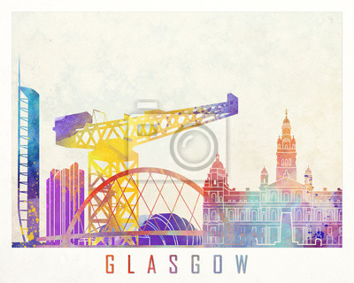Glasgow-Markstein-Aquarellplakat