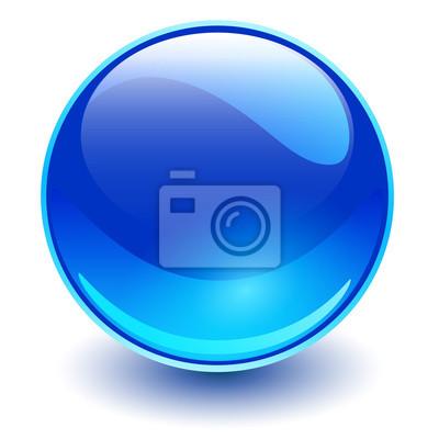 Poster Glass sphere blue, vector shiny ball.
