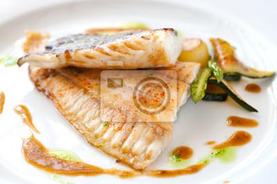Glattbutt vom Grill Fisch.