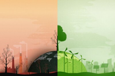 Poster Global warming and climate change concept.Half world of polluted and green environment background.Paper art of ecology and environment concept.Vector illustration.