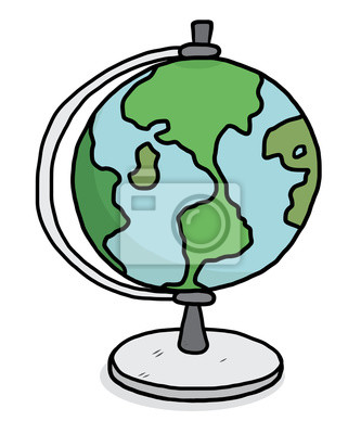 Globus Modell Cartoon Vektor Und Illustration Hand Gezeichnet