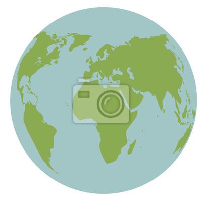 Erde Karte Rund.Poster Globus Welt Erde Karte Globalen Kontinent Vektor Illustration