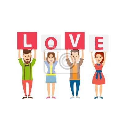 Poster Glücklich junge Menschen halten Briefe love.young Männer und Frauen isoliert auf weißem Hintergrund