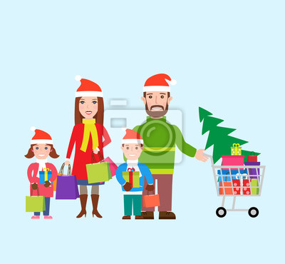 Poster Glückliche Familie in Santa Hüte mit Einkaufstaschen und Warenkorb. Familie einkaufen