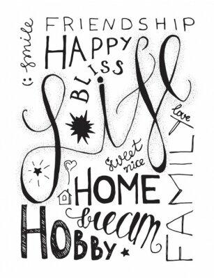 Poster Glückliche Leben-Beschriftung