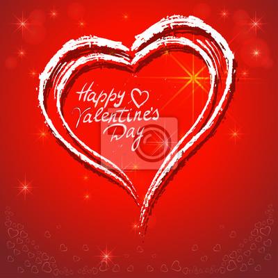 Poster Glückliche Valentinstag-Karte Vektor-Illustration
