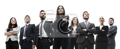 Poster glückliches erfolgreiches Geschäftsteam lokalisiert auf weißem Hintergrund