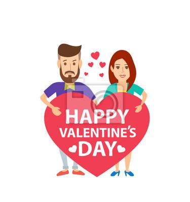 Poster Glückliches junges Paar mit roten Herzen isoliert auf weißem Hintergrund. fröhlichen Valentinstag