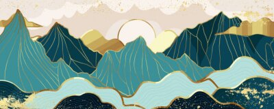 Poster Gold mountain wallpaper design with landscape line arts, Golden luxury background design for cover, invitation background, packaging design, wall arts, fabric, and print. Vector illustration.