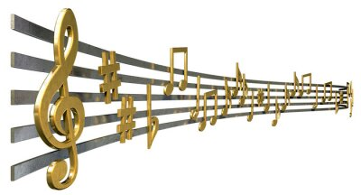 Poster Gold-Music Notes On gewellte Linien
