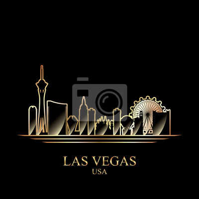 Gold silhouette of Las Vegas on black background