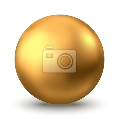 Poster Gold sphere or oil bubble isolated on white background.