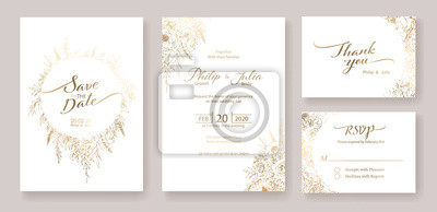 Poster Gold Wedding Invitation, save the date, thank you, rsvp card Design template. Vector. winter flower, Rose, silver dollar, olive leaves, Wax flower, Anemone.