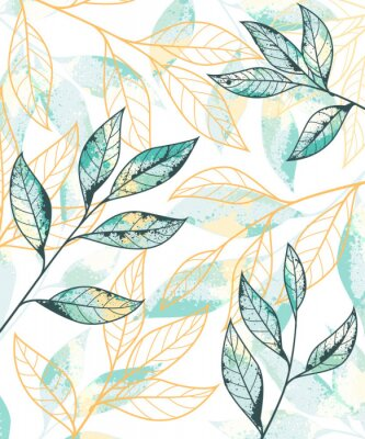 Poster Golden and green leaves pattern. Hand drawn vector background