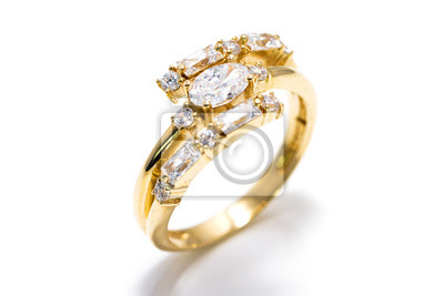Golden diamond ring isolated on a white background