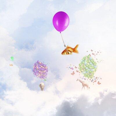 Poster Goldfish fliegen auf Ballon