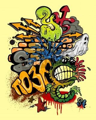 Poster Graffiti Elemente.