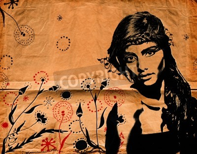 Poster graffiti fashion illustration of a beautiful woman with long hair on paper texture with grunge effect