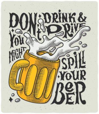 Poster Grafisches Plakat mit Bechergravur und lustigem Text