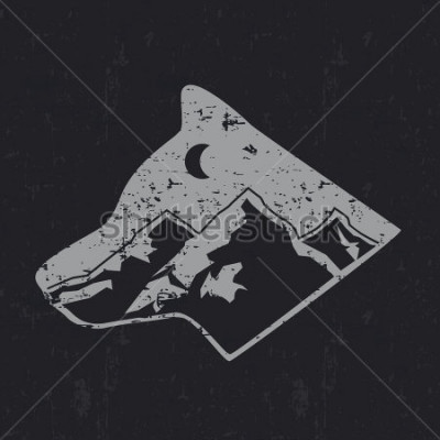 Poster Gray wolf typography design, t-shirt graphics.