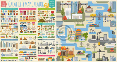 Poster Great city map creator.Seamless pattern map and  Houses, infrastructure, industrial, transport, village and countryside set. Make your perfect city